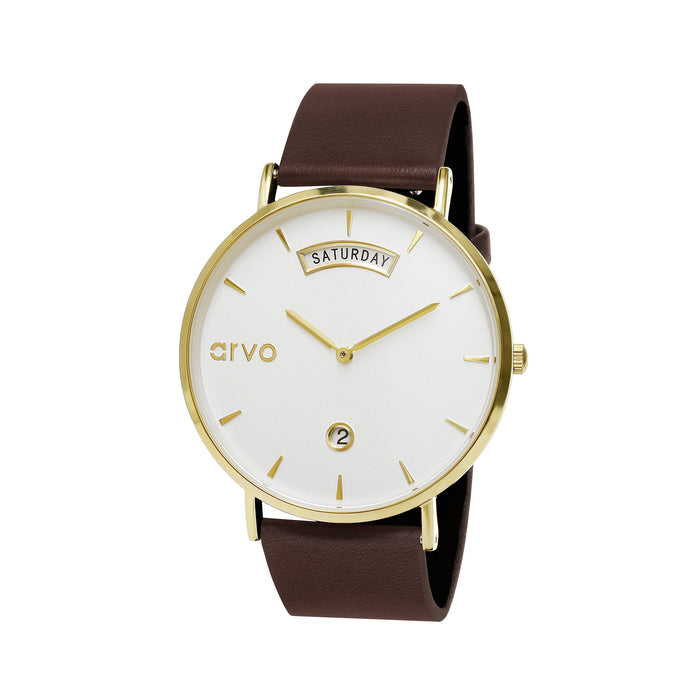 The Awristacrat | Gold - Saddle Leather Band 36mm