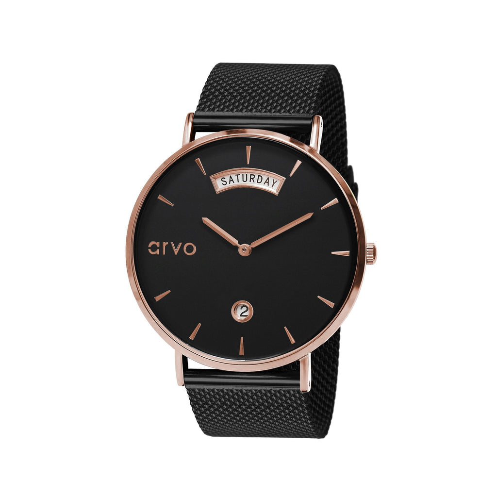 The Black Awristacrat Watch - Rose Gold - Black Band
