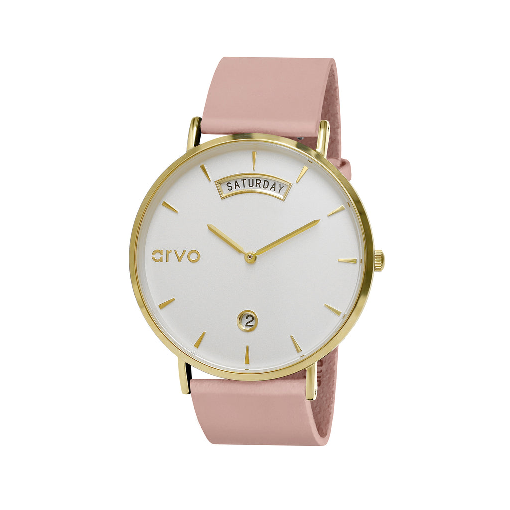 Arvo Awristacrat Watch - Gold - Blush Leather Band