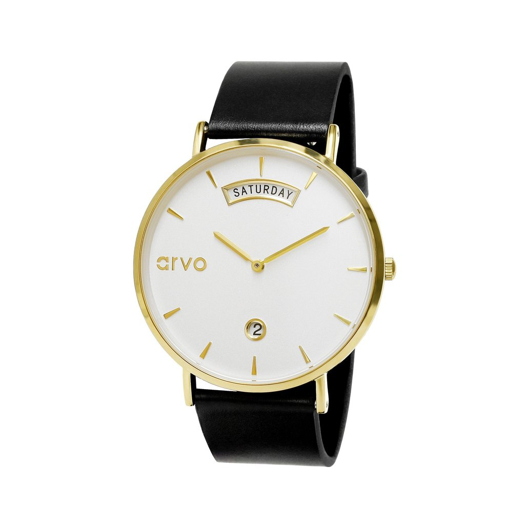 Arvo Awristacrat Watch - Gold - Black Leather Band