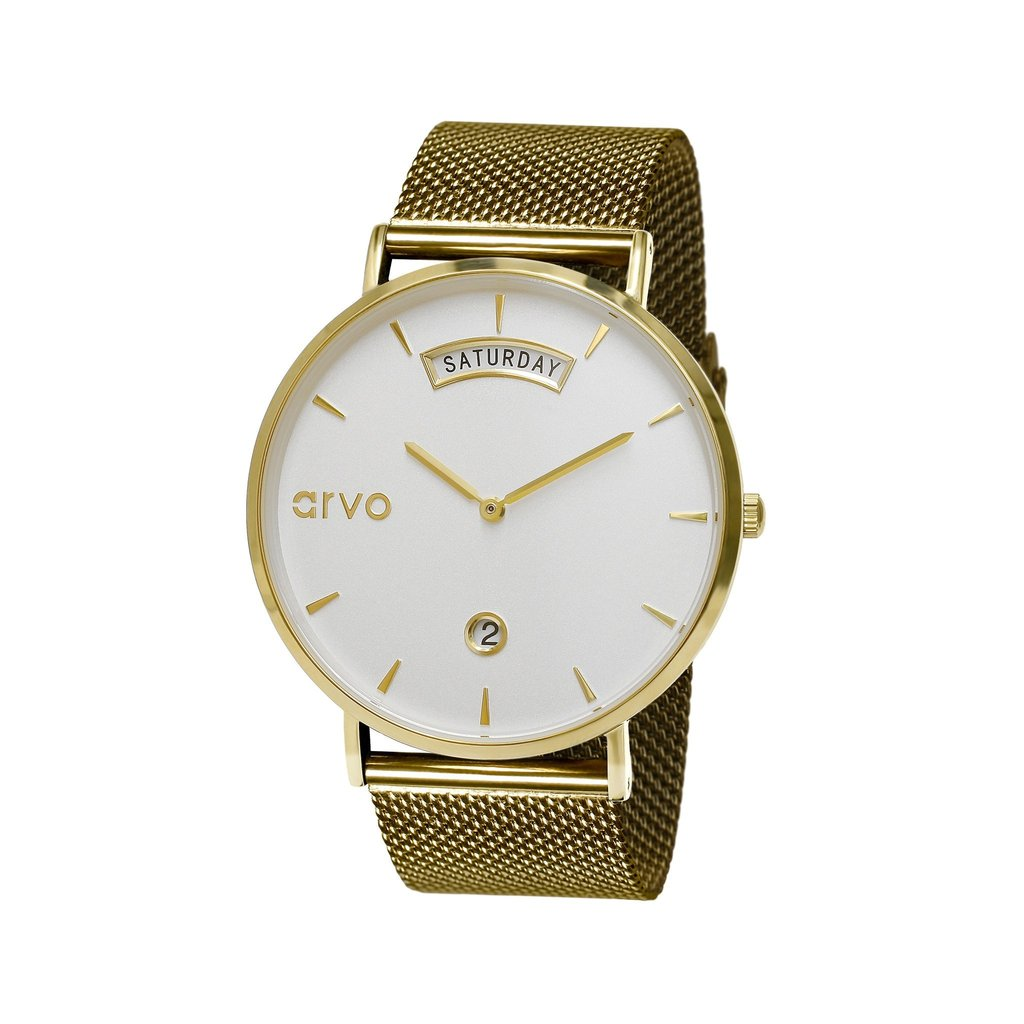 The Awristacrat Watch - Gold - Gold Mesh Band