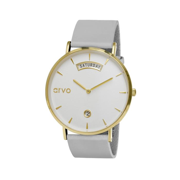 The Awristacrat Watch - Gold - Gray Leather Band