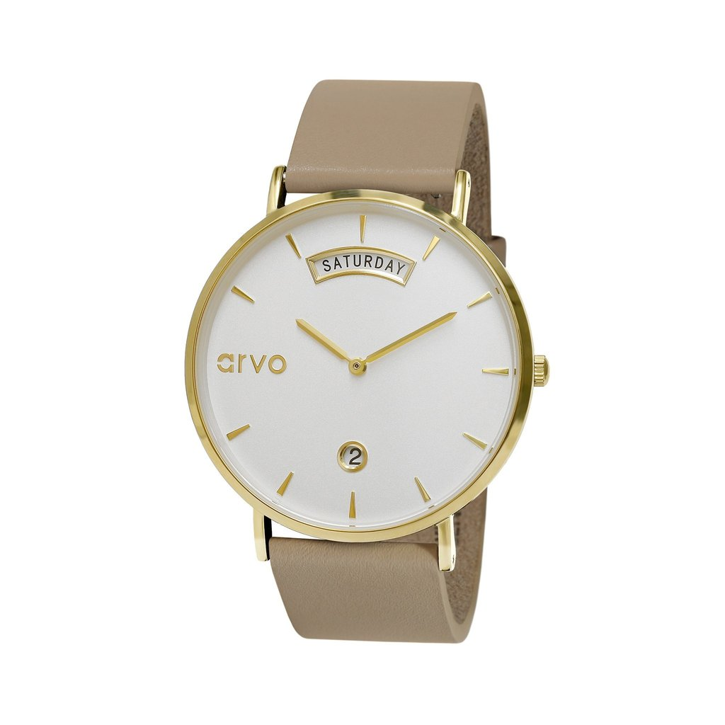 The Awristacrat Watch - Gold - Nude Leather Band