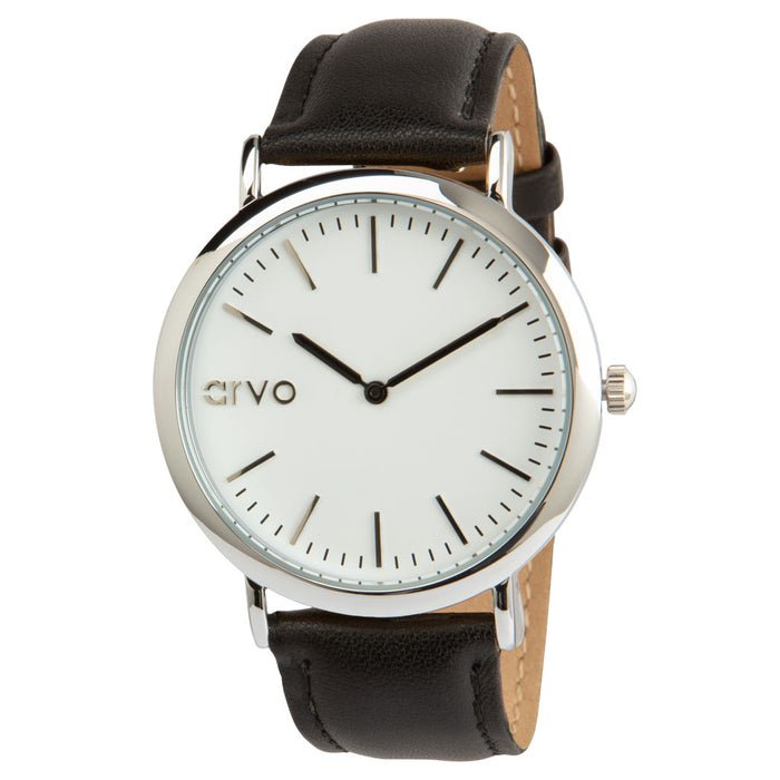 White Time Sawyer Silver - Black Leather