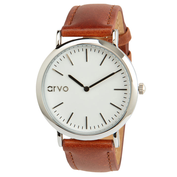 White Time Sawyer Silver - Brown Leather