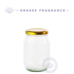470ml/16oz M-7041, Food Jar, Clear with Gold Cap
