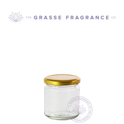 200ml/7oz M-7208, Straight sided WM Jar, Clear with Gold Cap