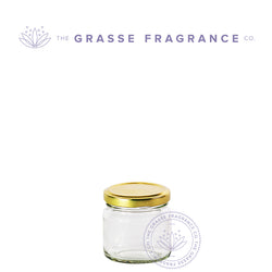118ml/4oz M-7361, Straight sided WM Jar, Clear with Gold Cap