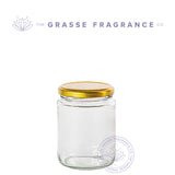 350ml/12oz M-7365, Straight sided WM Jar, Clear with Gold Cap