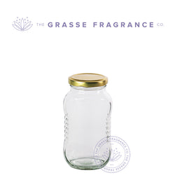 350ml/12oz M-7743, Fancy Wide Mouth Oval Jar, Clear with Gold Cap