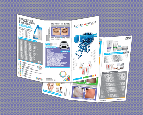 Rodan and Fields brochure with Lexus RFx, Men's Shave, Amp Roller and Before and Afters in tri-fold format.