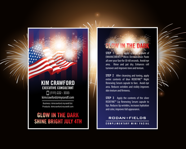 Rodan and Fields USA American July 4th patriotic Give it a Glow Mini Facial Card for Independent Consultants to download and print.