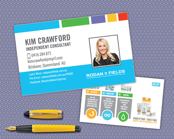 Rodan and Fields Australia Business Card with Regimens and Pre-Enrol Link 1