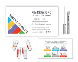 Rodan and Fields Business Card with Lash Boost and Regimens 1