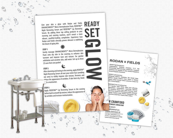 Rodan and Fields Ready Set Glow Mini Facial Card - Personalized