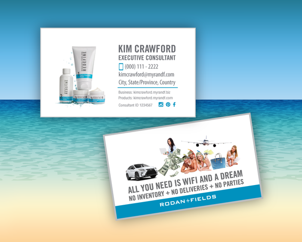 "Rodan and Fields Business Card ""Wifi and a Dream"" with Redefine Regimen"