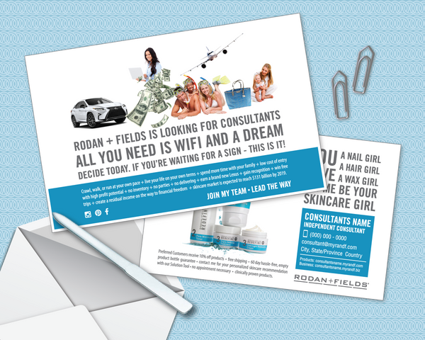 A Rodan and Fields Postcard for USA Independent Consultants themed Wifi and a Dream