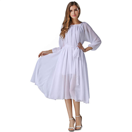 Long Sleeve Crew Neck Chiffon Maxi Dress with Belt - ladypresidential