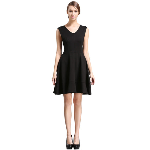 Sleeveless V-neck Fit and Flare A-line Swing Cocktail Skater Dress - ladypresidential