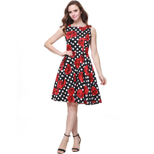 Printed 1950s Vintage Retro Rockabilly Party Ball Swing Dress - ladypresidential