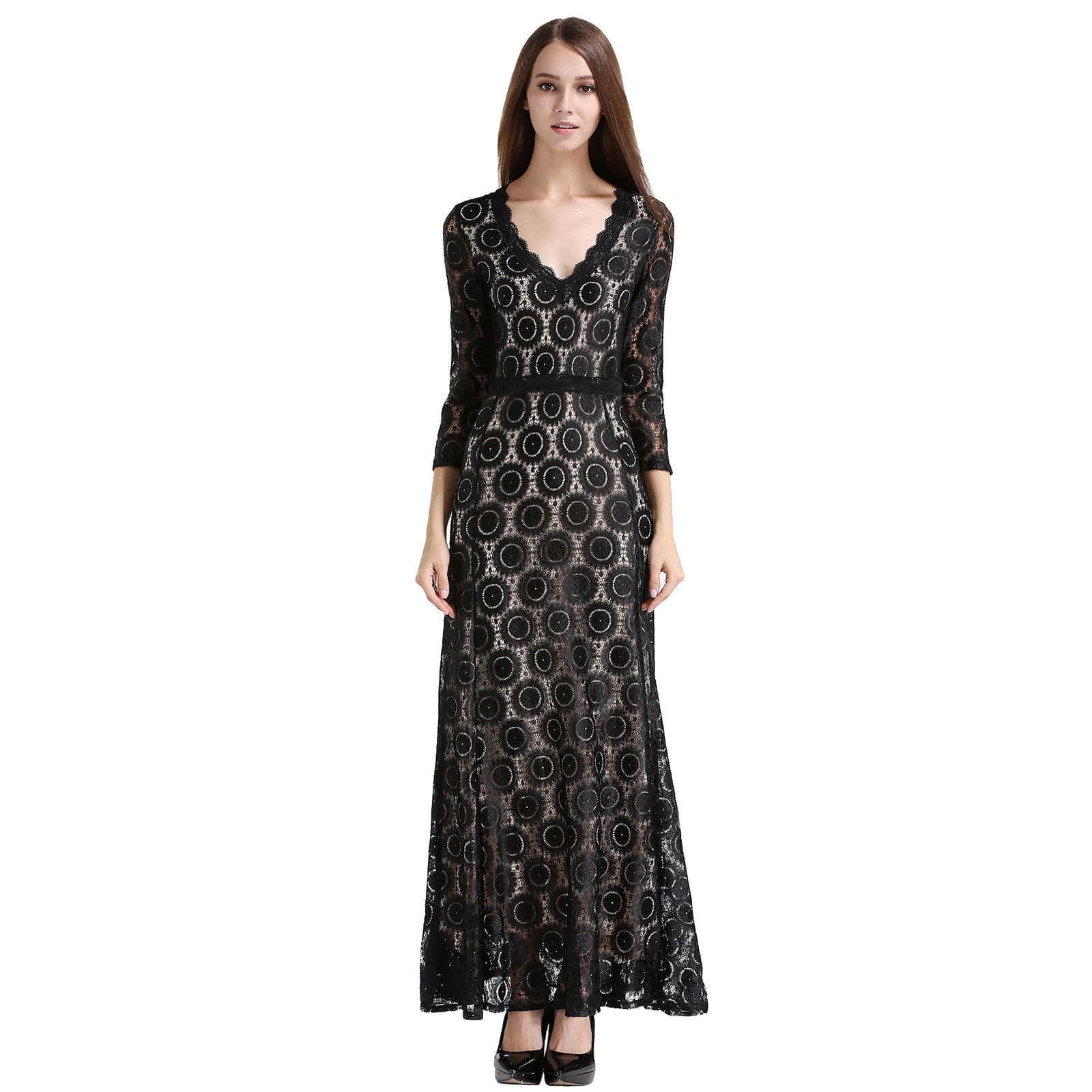 2/3 Sleeve Deep V-neck Floral Lace Long Evening Gown Dress ...