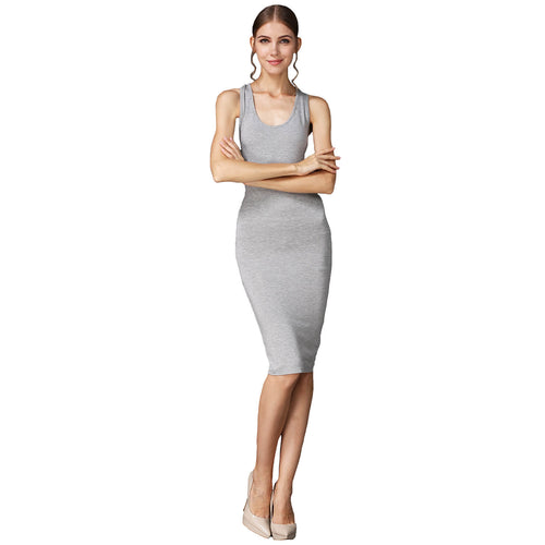 Crossback Slim Fit Tank Dress Stretchy Bodycon Casual Midi Dress - ladypresidential