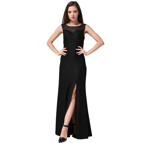 Floral Lace Split Side Long Evening Gown Dress - ladypresidential