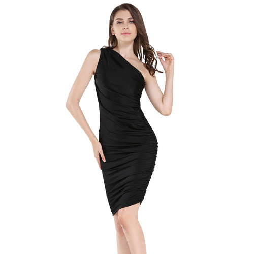 Sexy One Shoulder Sleeveless  Bodycon Midi Sheath Dress - ladypresidential