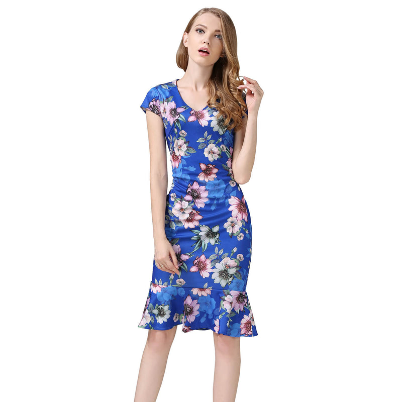 Cap Sleeve Floral V-neck Bodycon Mermaid Pencil Midi Dress - ladypresidential
