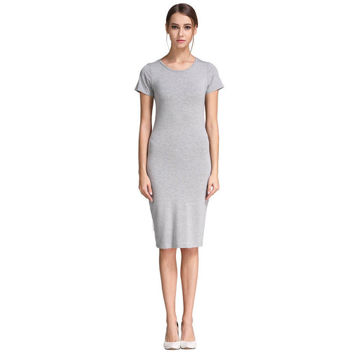 Solid Classic Slim Fit Short Sleeve Bodycon Midi Dress - ladypresidential