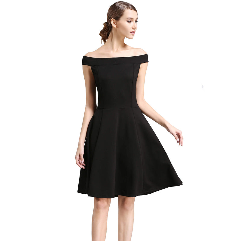 Fit and Flare Off the Shoulder Pleated Swing Party Skater Dress - ladypresidential