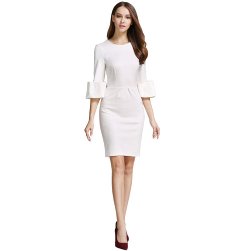 Half-Length Puff Sleeve Back Split Bodycon Sheath Dress - ladypresidential
