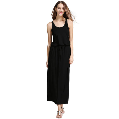 Sleeveless Racer Back Drawstring Waist Blouson Maxi Dress - ladypresidential
