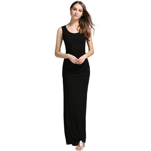 Sleeveless Scoop Neck Shirring Sides Slit Maxi Dress - ladypresidential