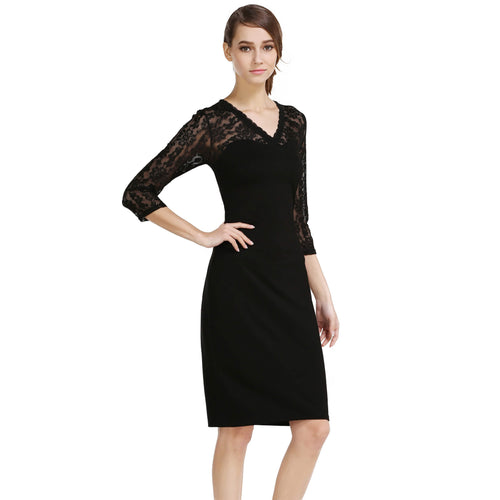 V-neck 3/4 Sleeve Lace Patchwork Pencil Midi Cocktail Dress - ladypresidential