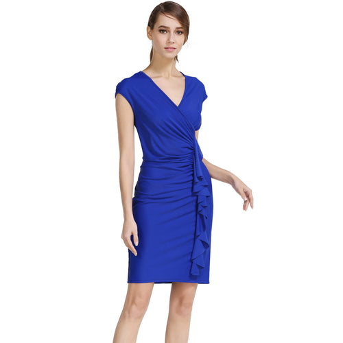Plunge V-neck Cap Sleeve Ruched Side Frill Ruffles Slim Fit Midi Dress - ladypresidential