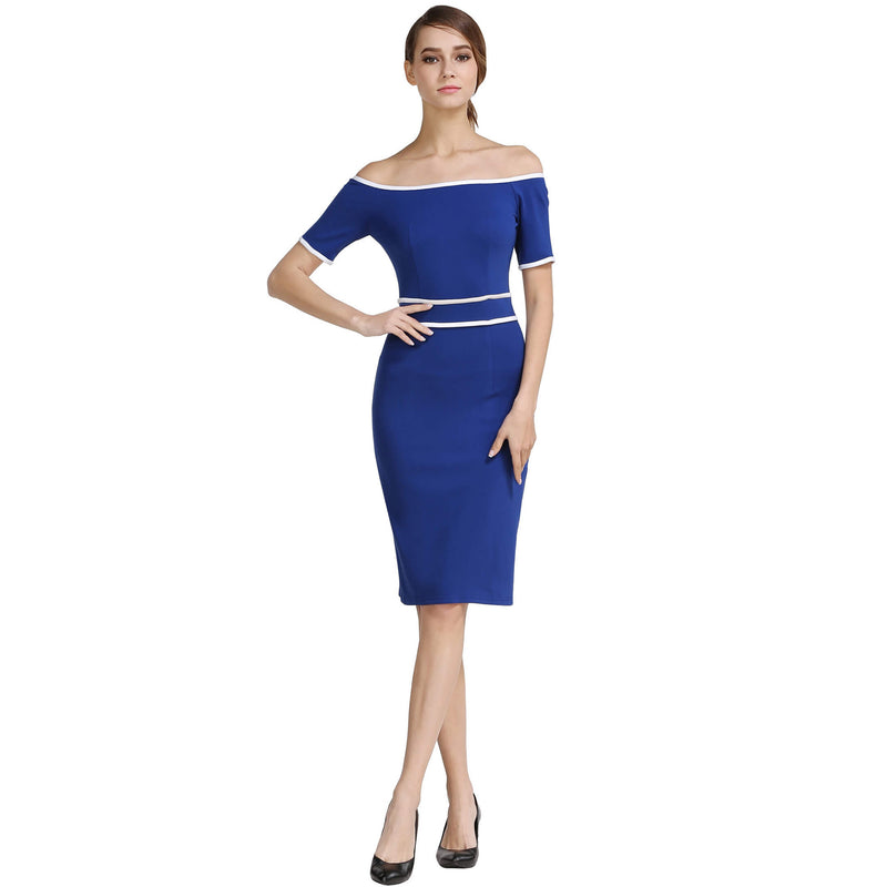 Off Shoulder Short Sleeve Back Split Bodycon Midi Dress - ladypresidential