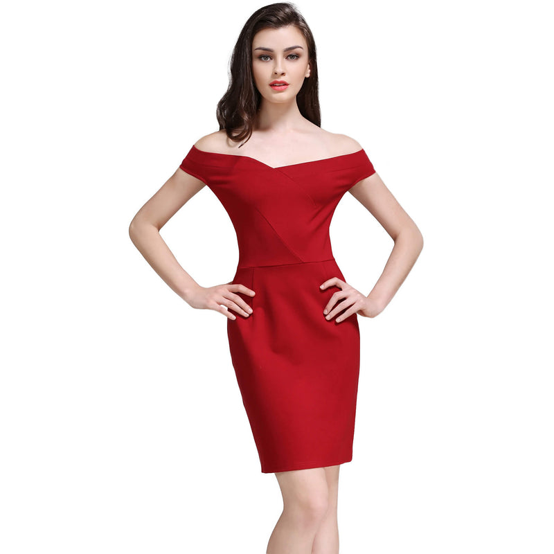 Off Shoulder Cap Sleeve Back Split Sheath Dress - ladypresidential