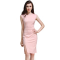 Sleeveless Slim Fit Crewneck Side Split Bodycon Midi Dress - ladypresidential