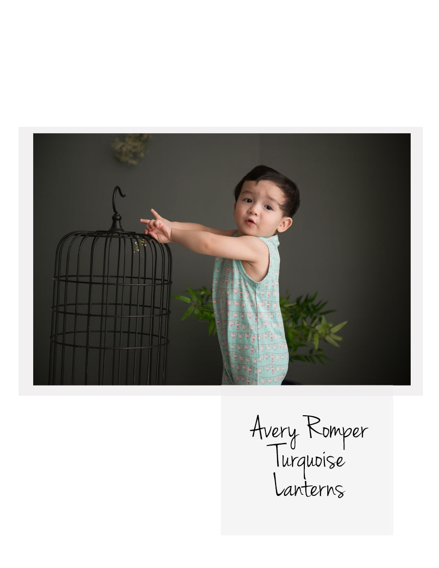 Avery Romper Turquoise Lanterns