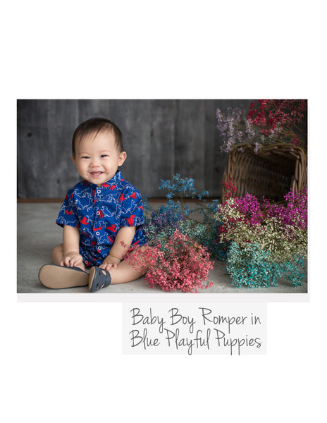 Baby Boy Romper Blue Playful Puppies