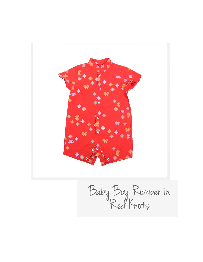 Baby Boy Romper Red Knots