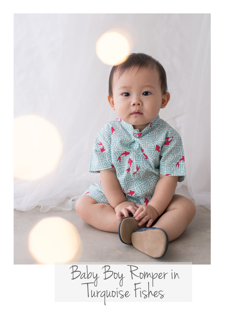 Baby Boy Romper Turquoise Fishes