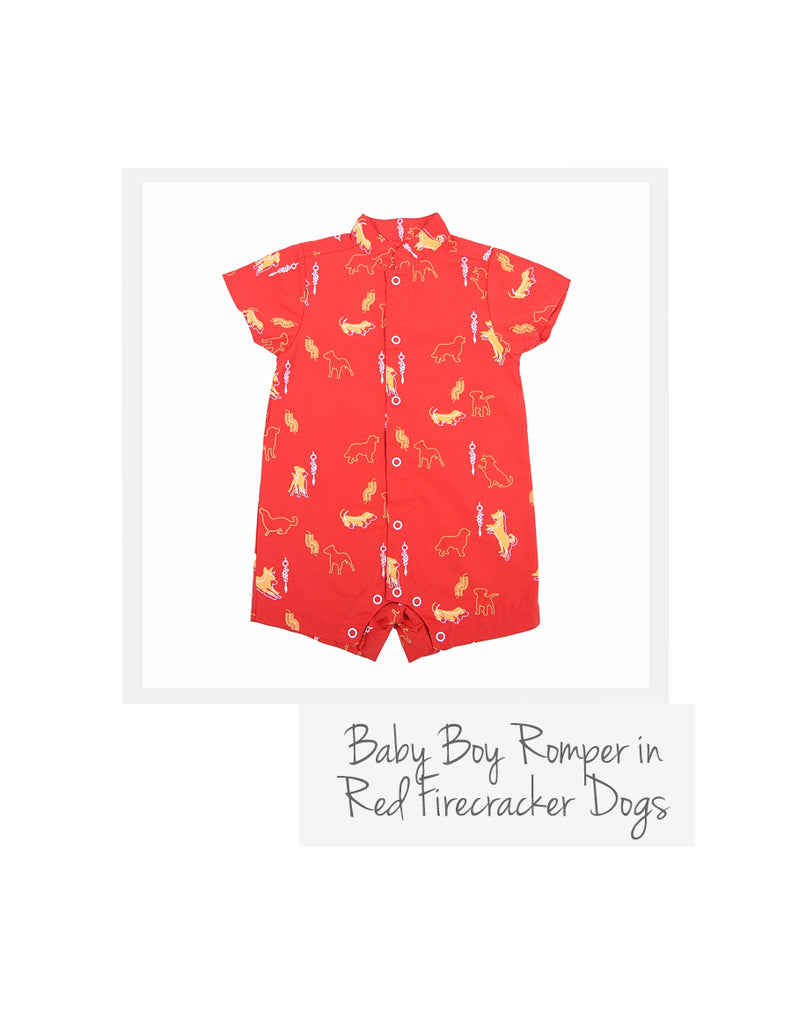 Baby Boy Romper Red Firecracker Dog