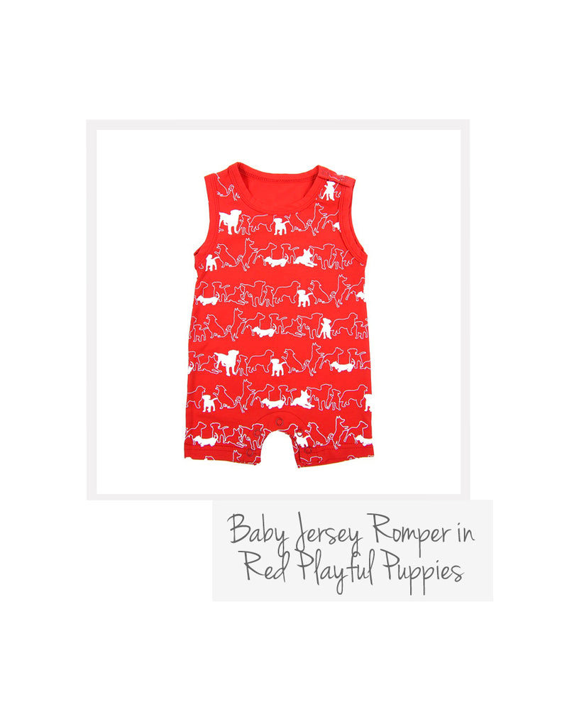 Baby Boy Romper Red Playful Puppies