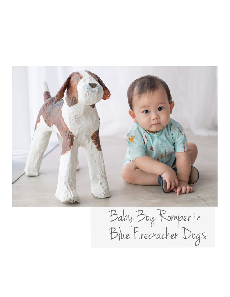 Baby Romper Blue Firecracker Dog