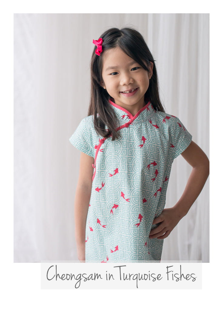 Cheongsam in Turquoise Fishes