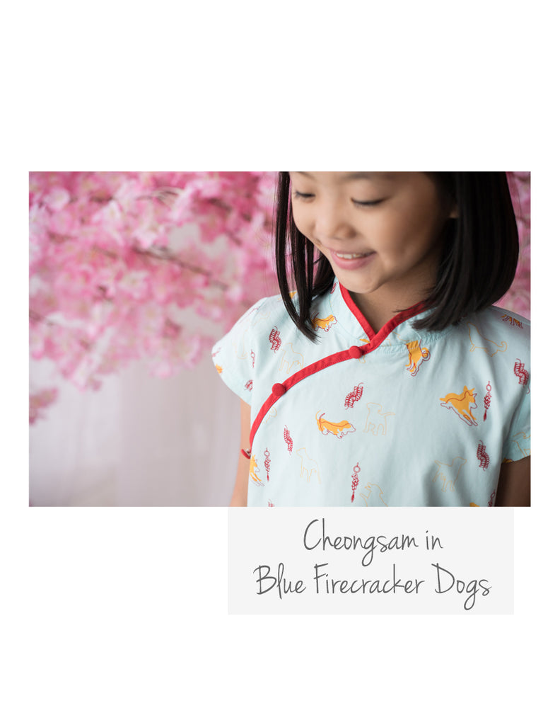 Cheongsam Blue Firecracker Dogs