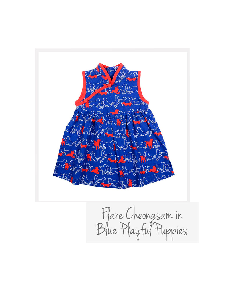 Flare Cheongsam Blue Playful Puppies