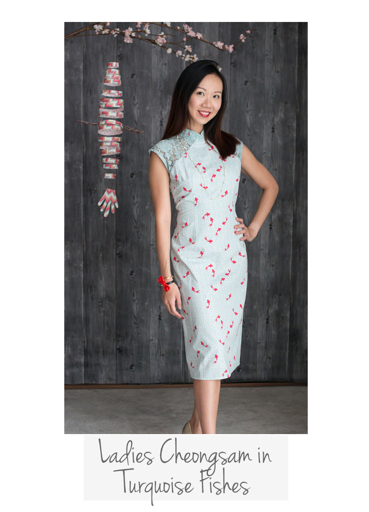 Ladies Cheongsam Turquoise Fishes